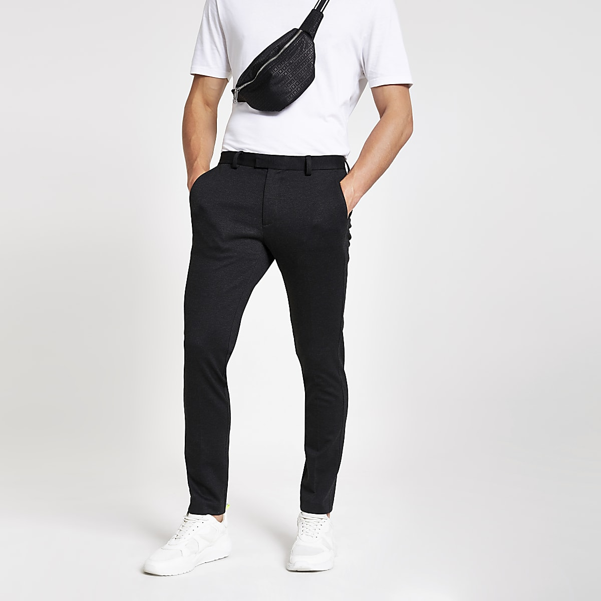 Pantalon de costume super skinny gris foncé