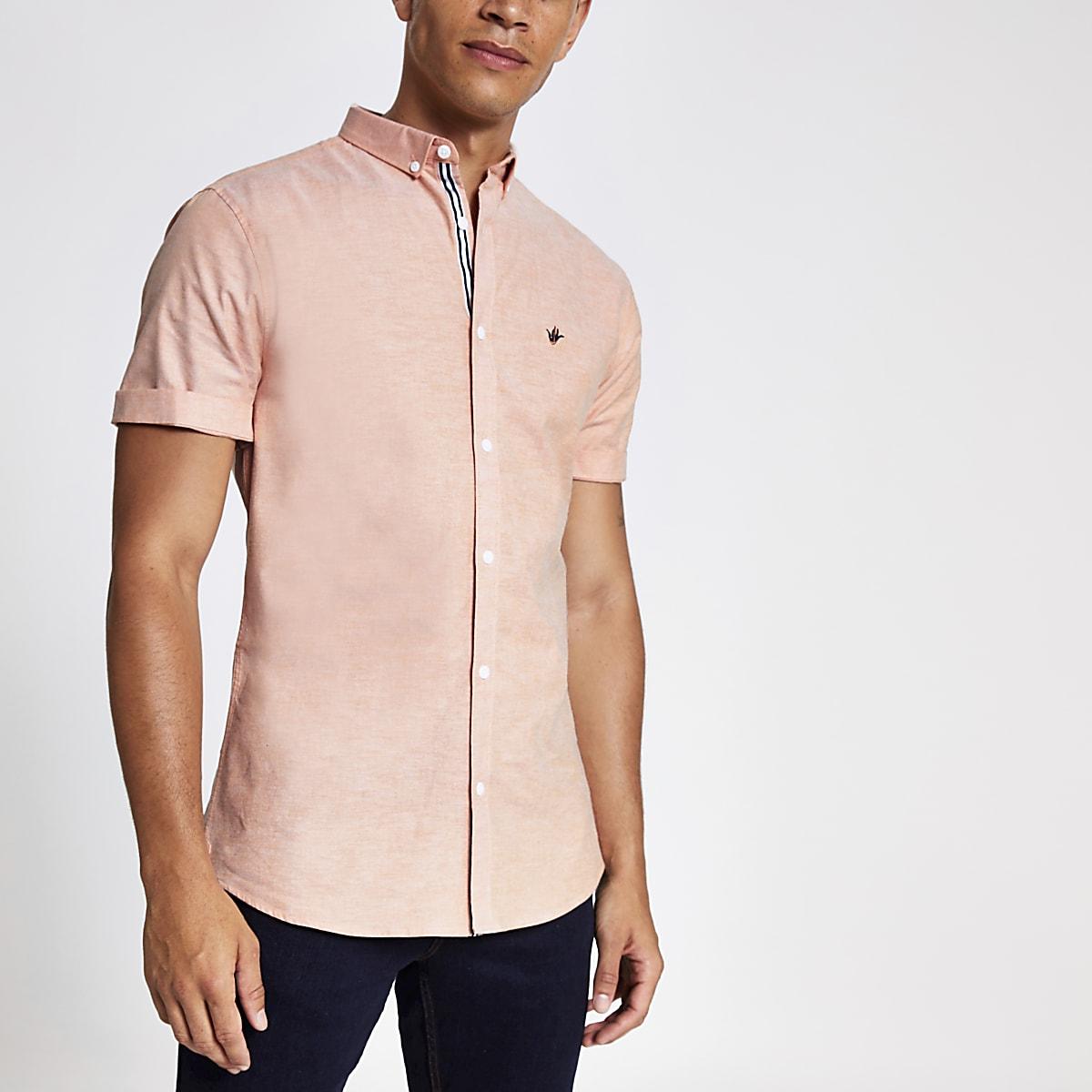 Oranje slim-fit Oxford overhemd
