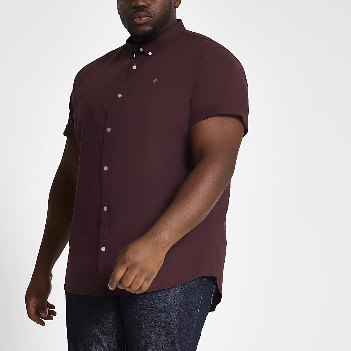 Big and Tall - Bordeauxrood slim-fit overhemd