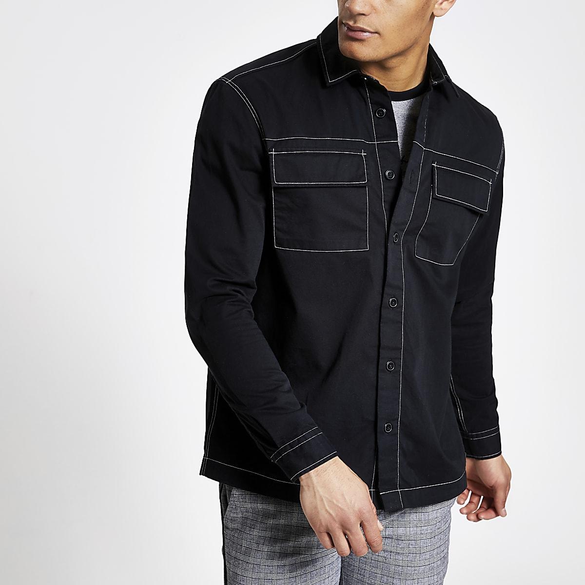 Zwart contrasterend overshirt met lange mouwen