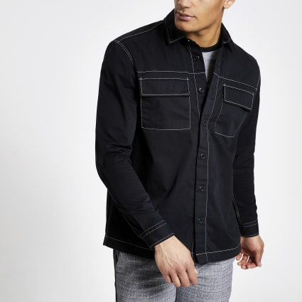 Black contrast long sleeve overshirt
