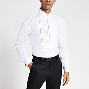Wit slim-fit overhemd met plooien en lange mouwen