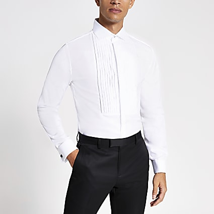 White slim fit pleated long sleeve shirt