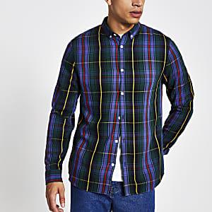 Paars geruit slim-fit overhemd met lange mouwen