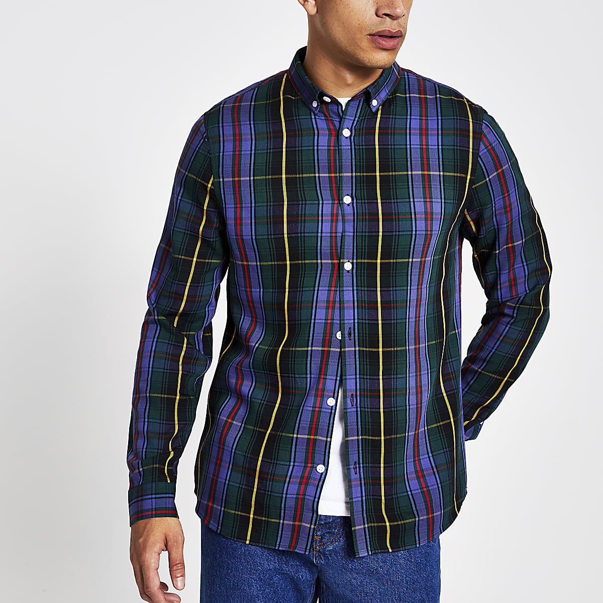 Purple check long sleeve slim fit shirt
