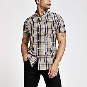 Ecru geruit slim-fit overhemd met korte mouwen