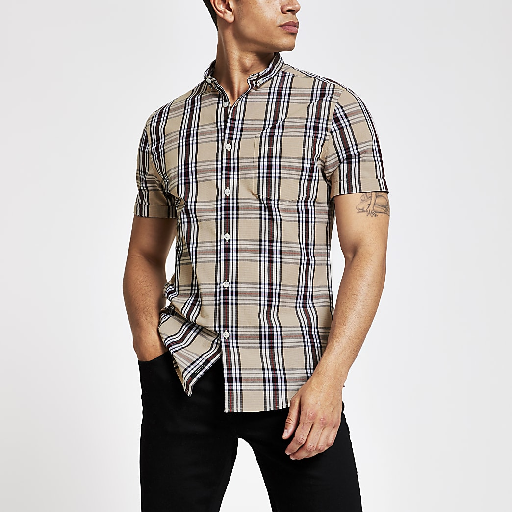 Ecru check slim fit short sleeve shirt