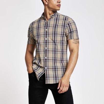 Ecru check slim fit short sleeve shirt