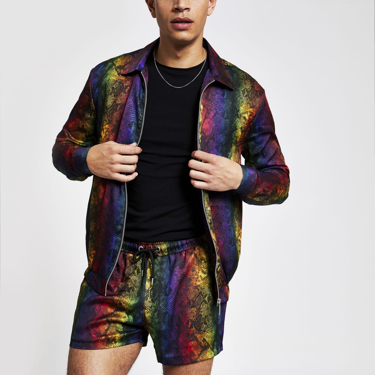 Multi colored snake print zip shirt