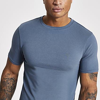 Blue muscle fit crew neck T-shirt