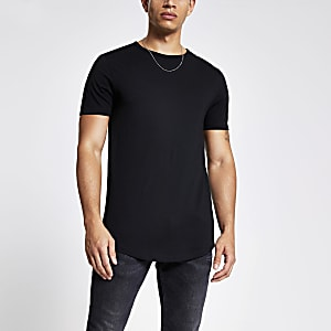 Schwarzes Regular Fit T-Shirt mit welligem Saum