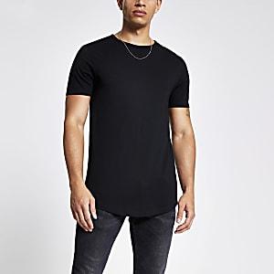 T-shirt noir classique avec ourlet arrondi