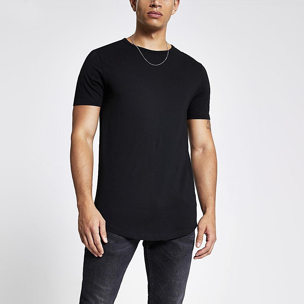 Schwarzes Regular Fit T-Shirt mit welligem Saum