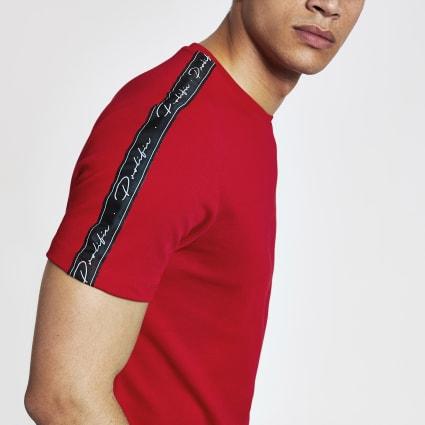 Red Prolific tape slim fit T-shirt
