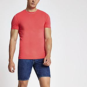 Koraalrood aansluitend T-shirt met ronde hals