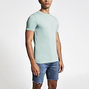 Lichtblauw strak aansluitend T-shirt met ronde hals