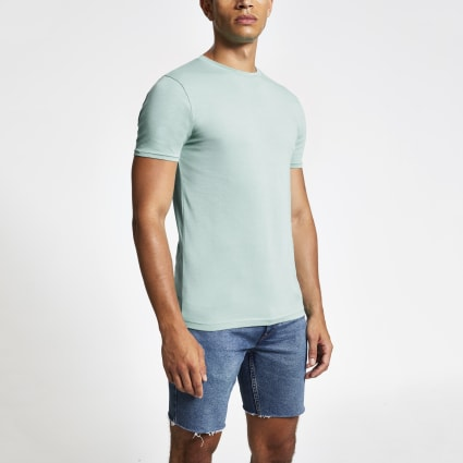 Light blue muscle fit crew neck T-shirt