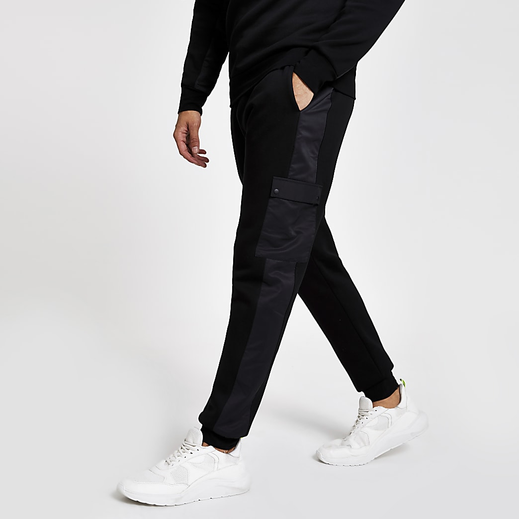 Black slim fit utility joggers
