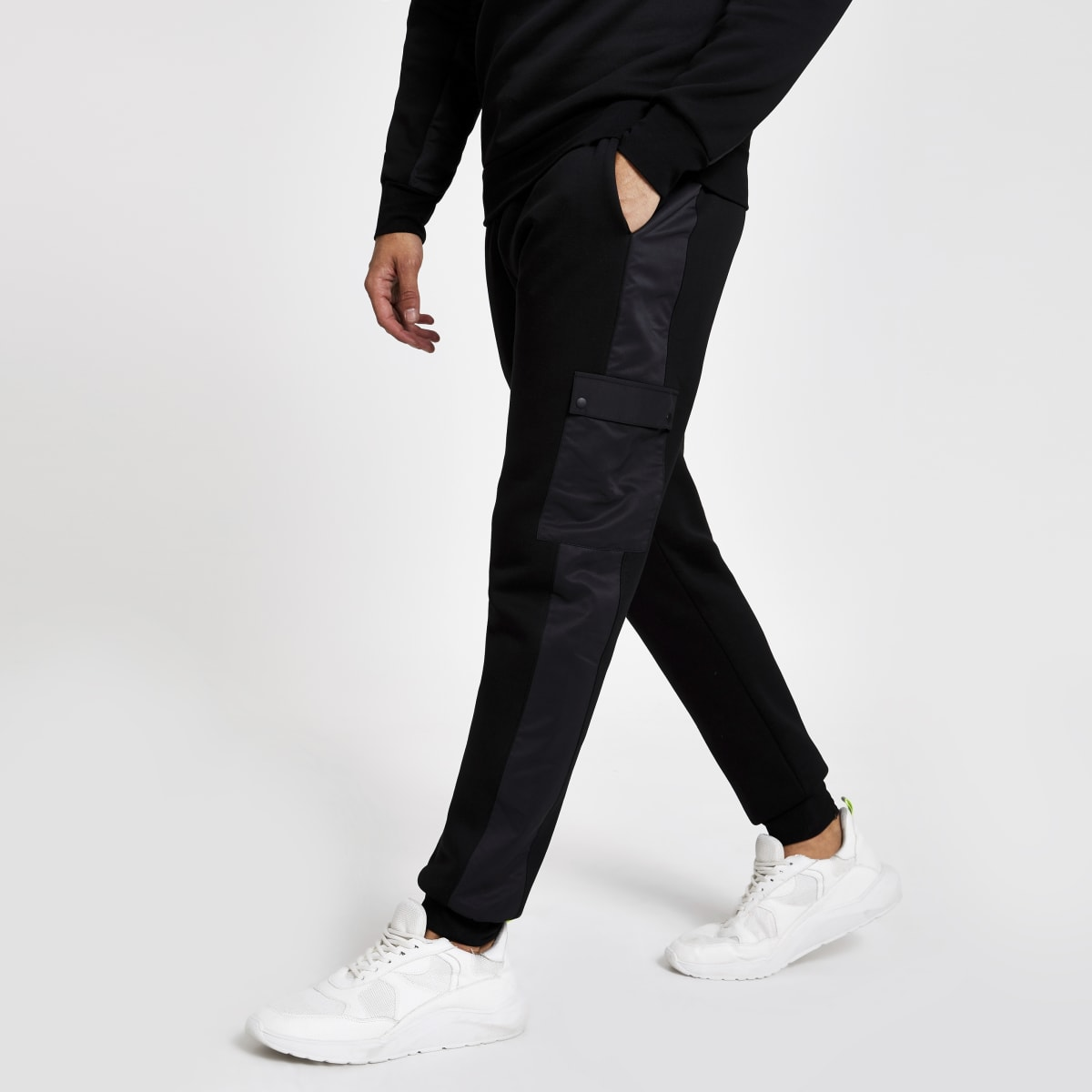 Zwarte slim-fit utility joggingbroek