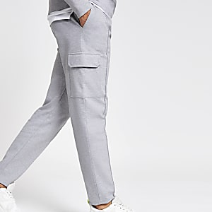 Grey slim fit utility joggers