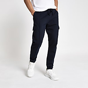 Marineblaue Slim Fit Jogginghose im Utility-Look