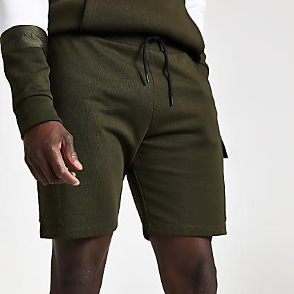 Khaki slim fit utility jersey shorts