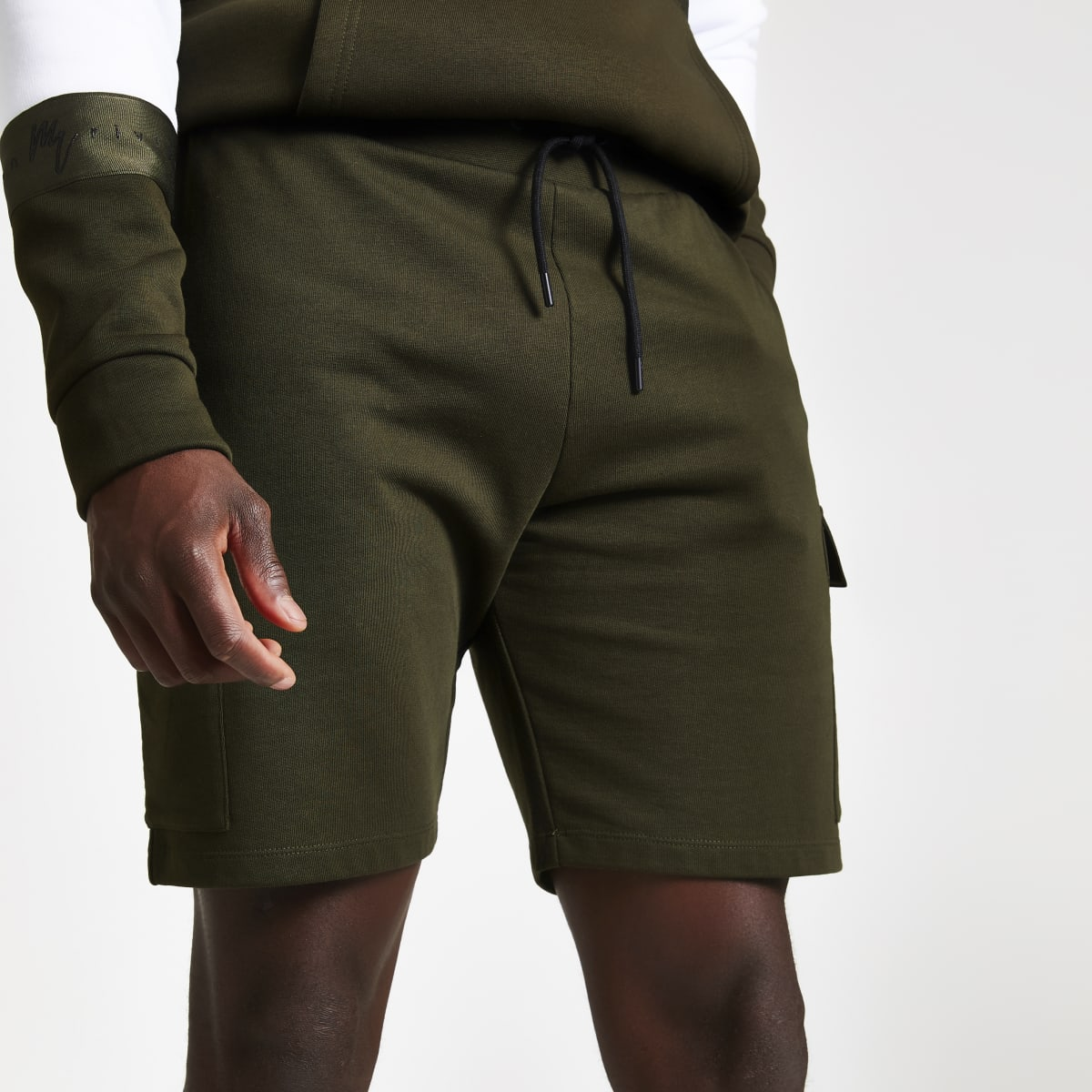 Khaki slim fit utility jersey shorts