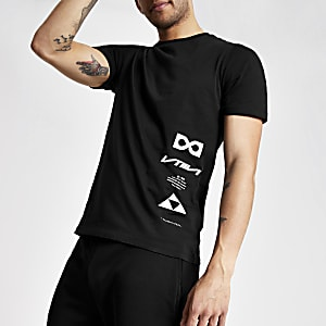 Black slim fit printed T-shirt