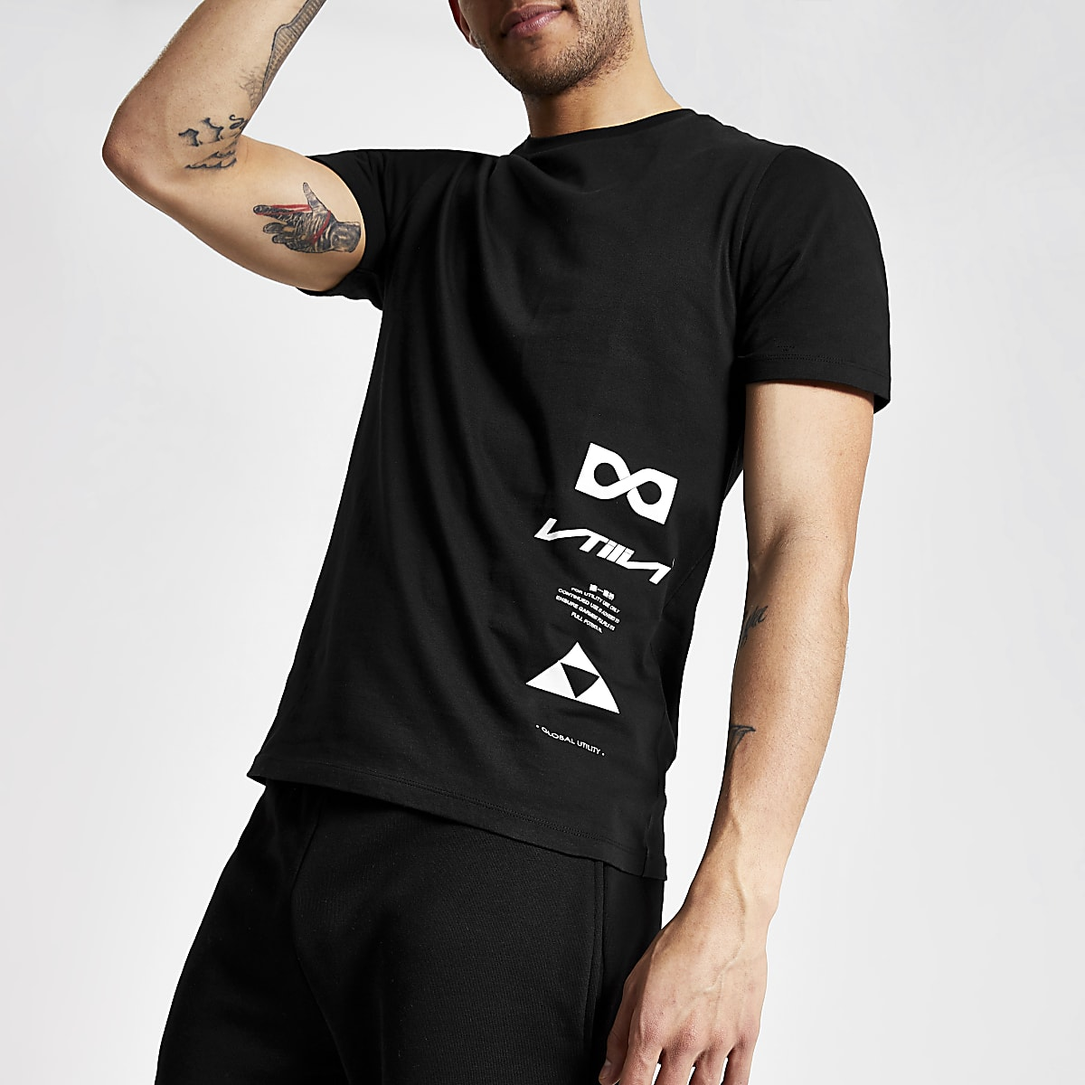 e8a2770bc5 Black slim fit printed T-shirt - T-shirts - T-Shirts & Vests - men
