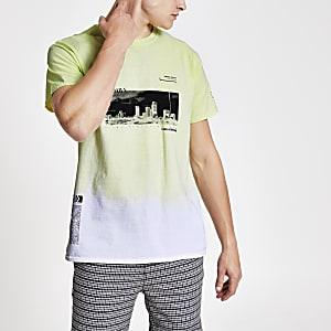 T-shirt vert imprimé tie and dye