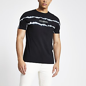 Zwart slim-fit tie-dye T-shirt