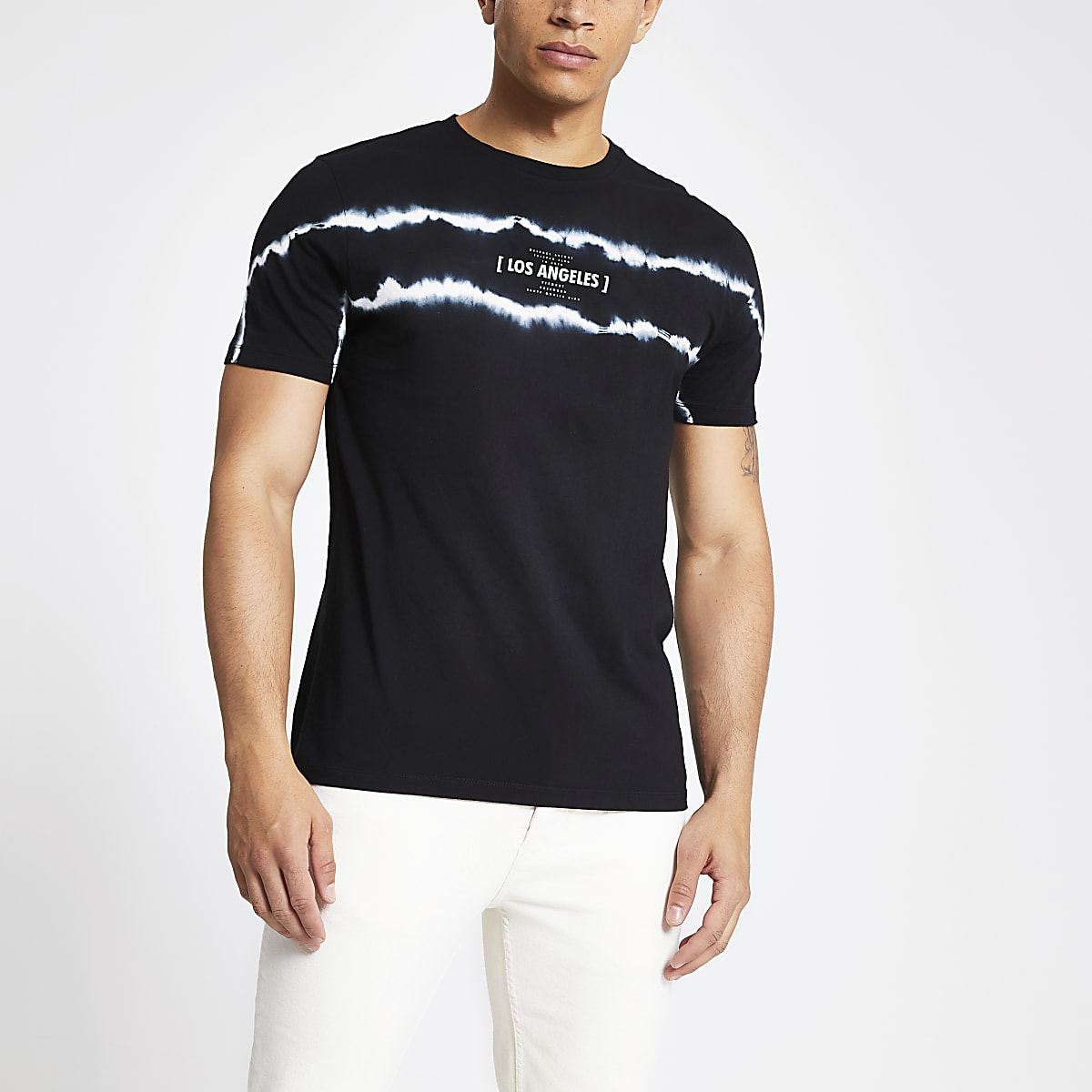 T-shirt slim noir effet tie and dye