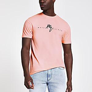 T-shirt slim «Maison Riviera» corail