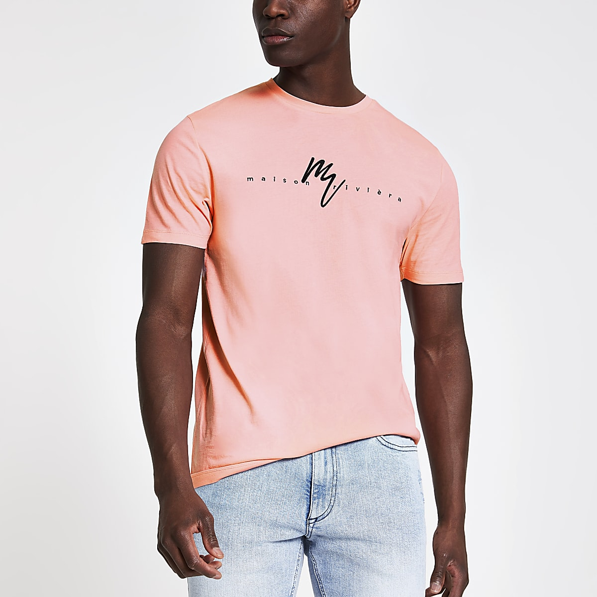 Maison Riviera - Koraalrood slim-fit T-shirt