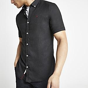 Donkergrijs slim-fit overhemd met korte mouwen
