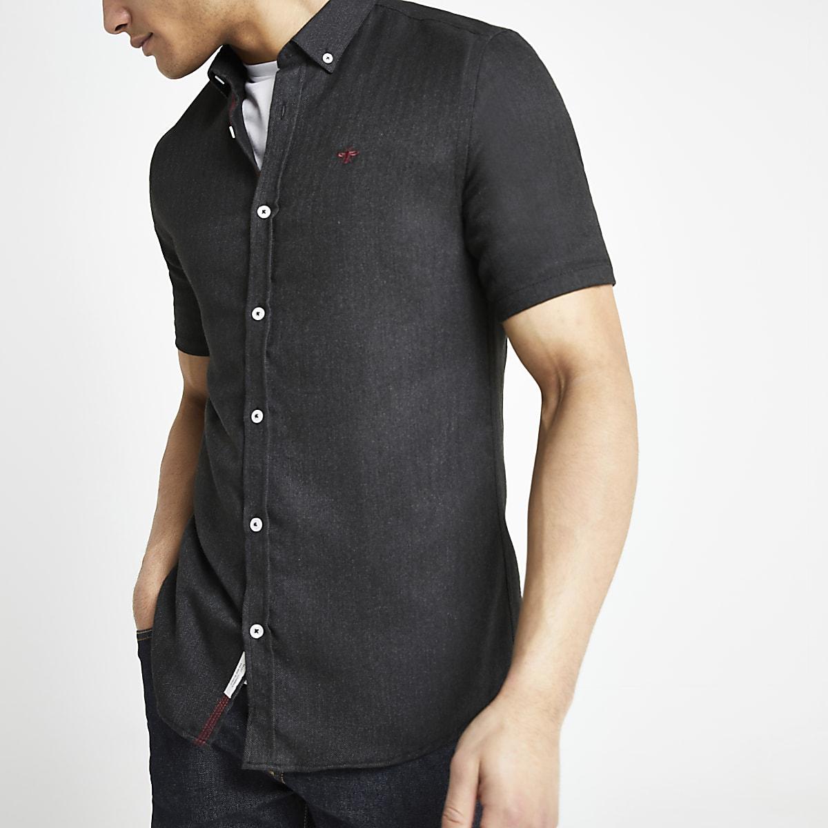 Donkergrijs Overhemd.Donkergrijs Slim Fit Overhemd Met Korte Mouwen Overhemden Met
