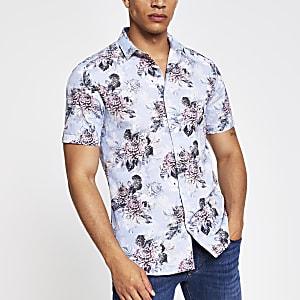 Chemise slim à fleurs bleu clair