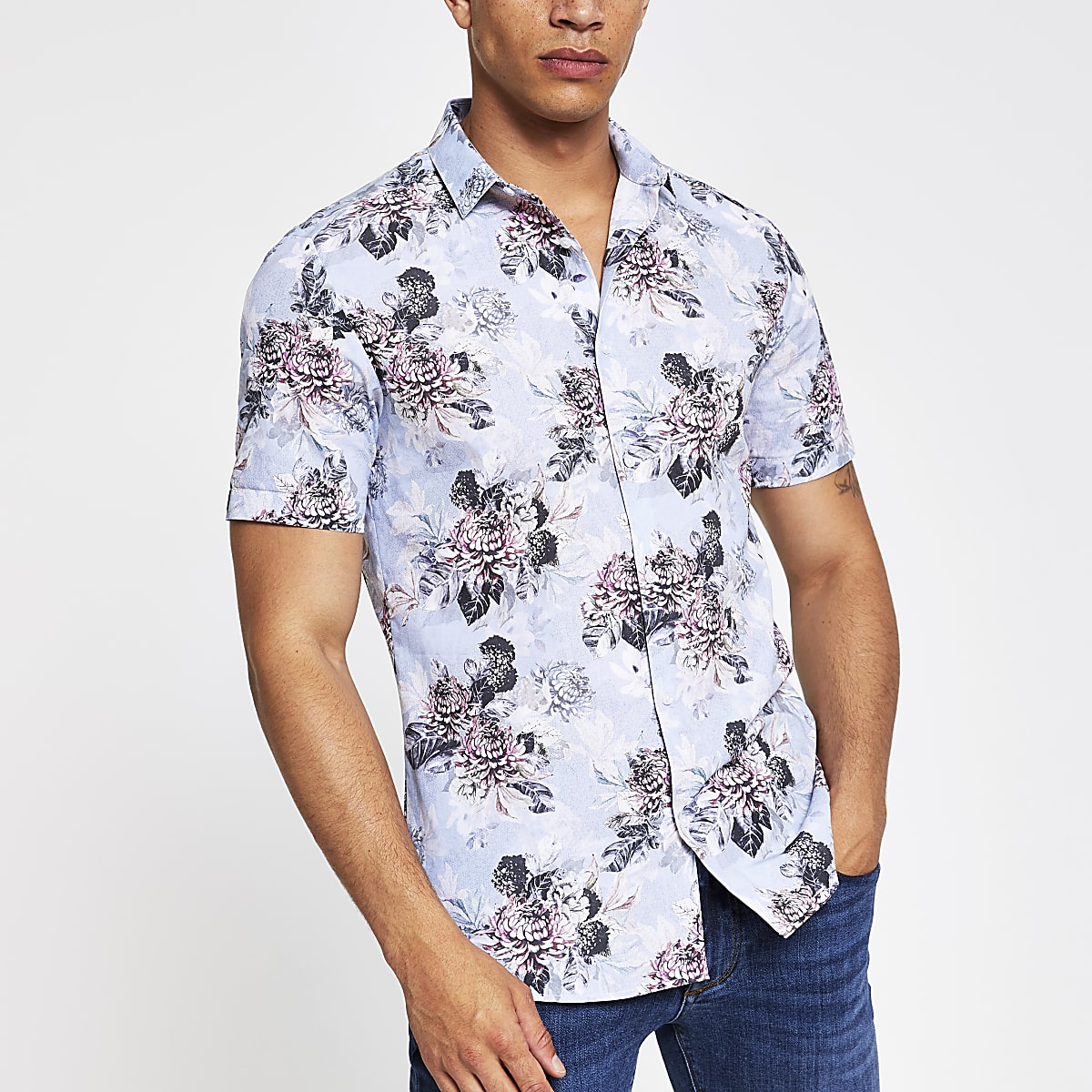 Light blue floral slim fit shirt