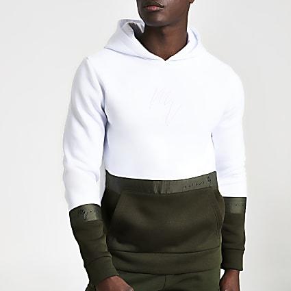 White Maison Riviera block slim fit hoodie