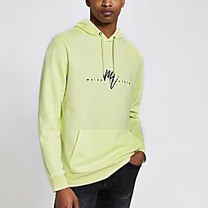Gele slim-fit hoodie met 'Maison Riviera'-print