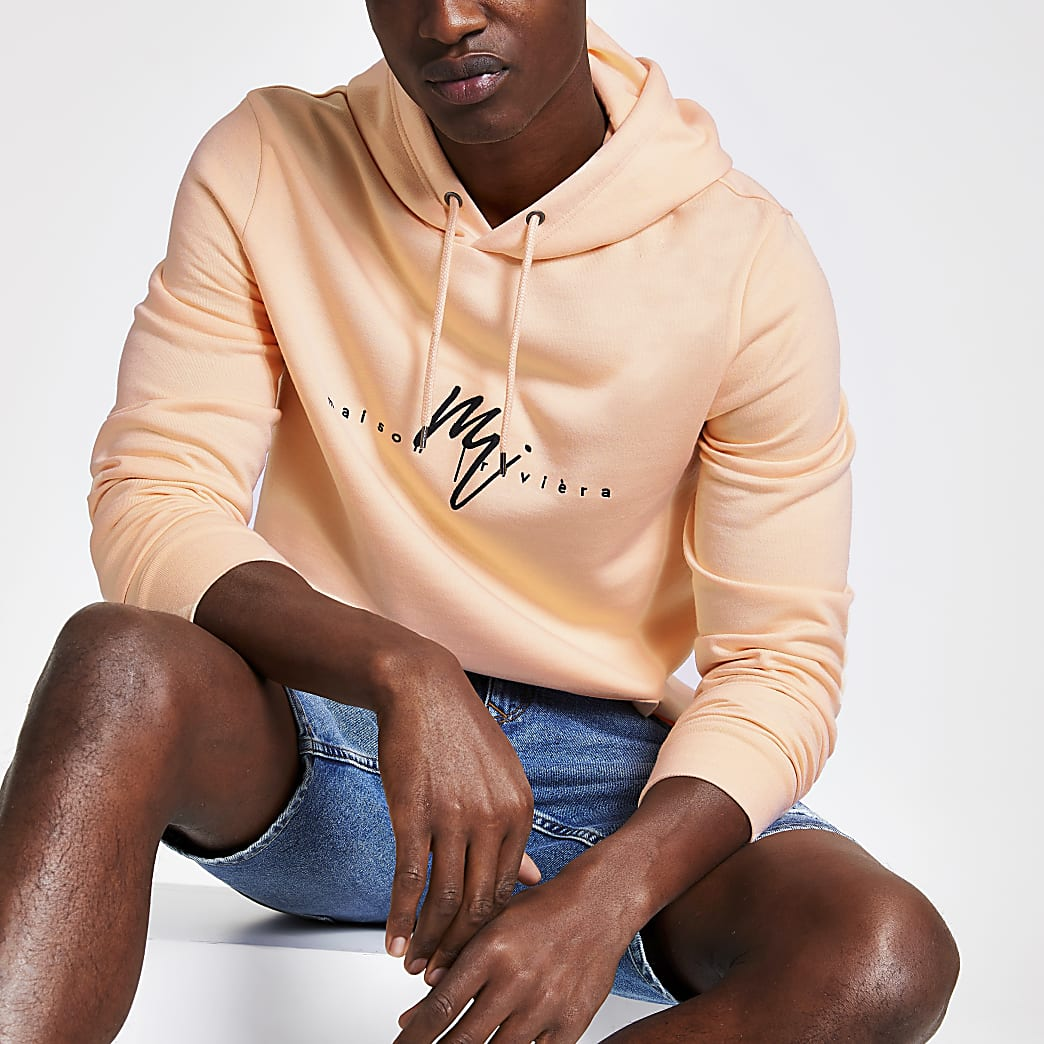 Orange Maison Riviera slim fit hoodie