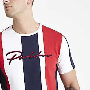 Rood gestreept slim-fit T-shirt met 'Prolific'-print