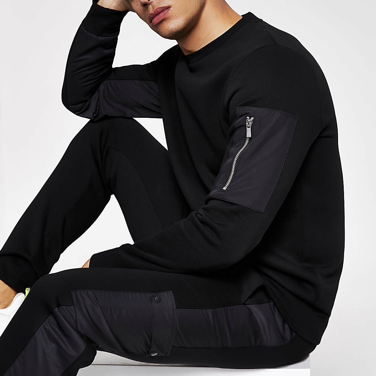 Black slim fit utility sweatshirt