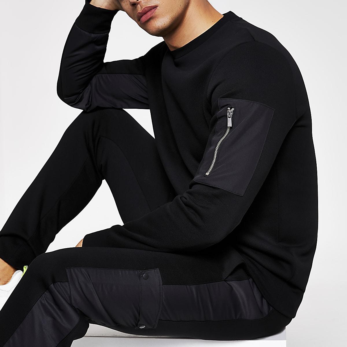 Black slim fit utility sweatshirt