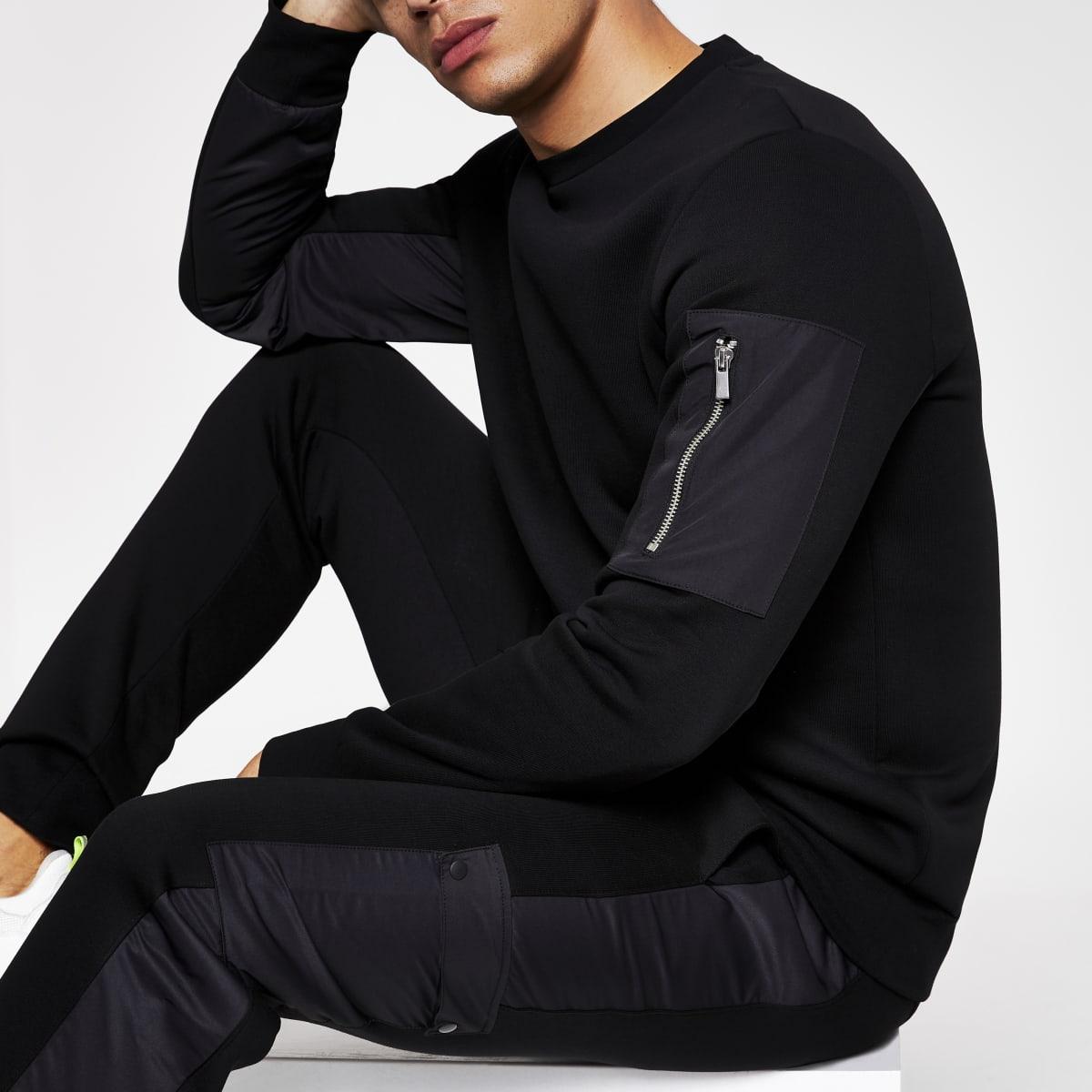 Zwart slim-fit utility sweatshirt