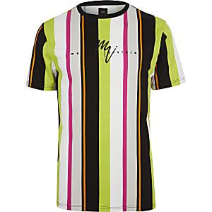 Neongrünes, gestreiftes Slim Fit T-Shirt