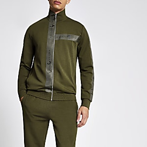 Khaki 'Maison Riviera' slim fit track top
