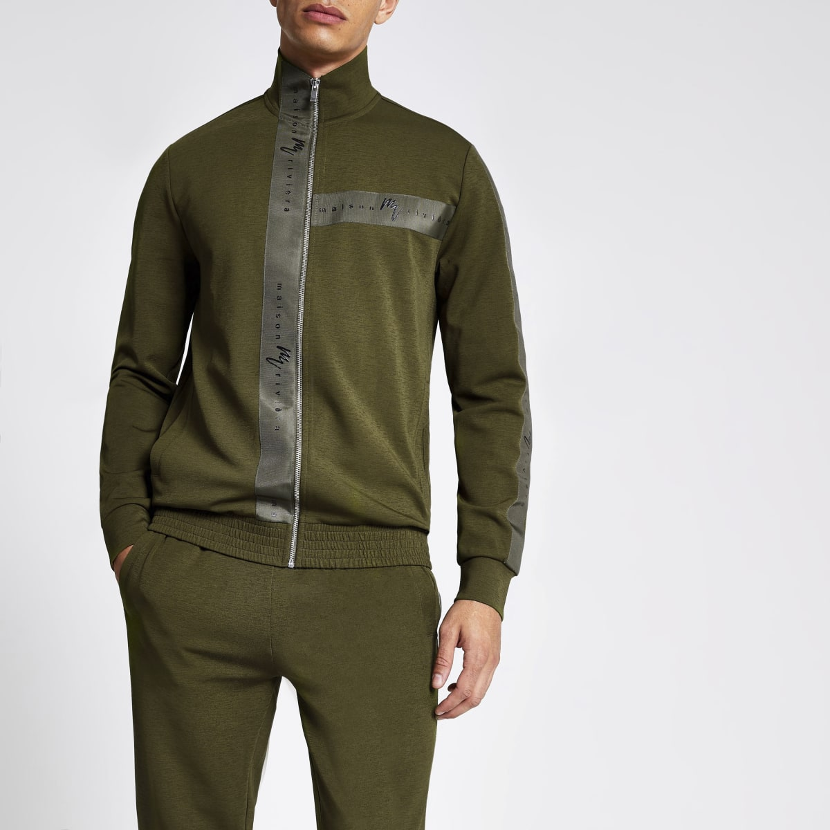 Khaki Maison Riviera slim fit track top