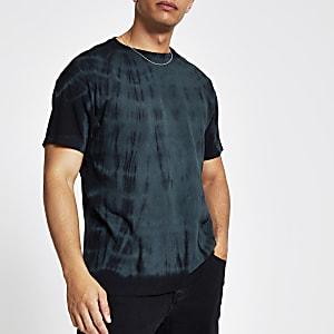 Grünes Oversized-T-Shirt mit Batikmuster