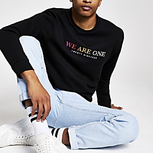 "Schwarzes Pride-Sweatshirt mit ""We are one""-Print"